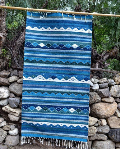 "Zapotec Area Rug 2.5' x 5' / Handwoven Wool from Oaxaca / ""Montañas y Lluvia"" / Blue with Green"