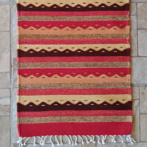 "Zapotec Area Rug 2.5' x 5' / Handwoven Wool from Oaxaca / ""Montañas y Lluvia"" / Red, Orange, and Yellow"