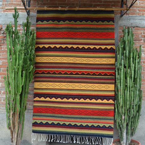 "Zapotec Area Rug 2.5' x 5' / Handwoven Wool from Oaxaca / ""Montañas y Lluvia"" / Red, Green, and Yellow"