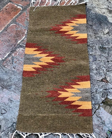 Area Rug / Handwoven Wool from Oaxaca / Agave / Brown, Red, & Orange