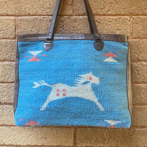 Hand-woven Wool Tote with Leather Strap - Sky Blue & White - Caballo