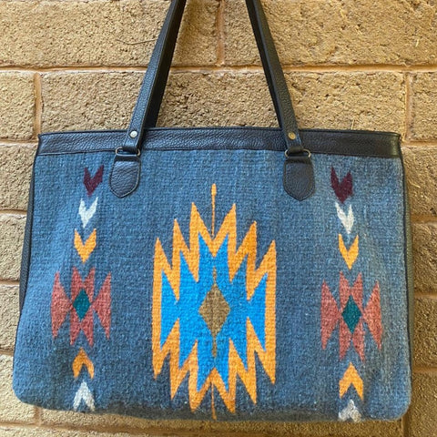 Hand-woven Wool Tote with Leather Strap - Blue with Orange Diamantes