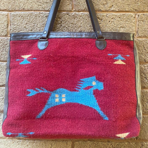 Hand-woven Wool Tote with Leather Strap - Red & Turquoise - Caballo