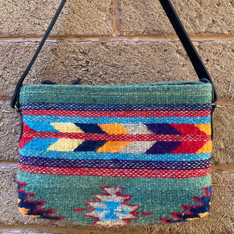 Hand-woven Wool Tote with Leather Strap - Rainbow Flechas