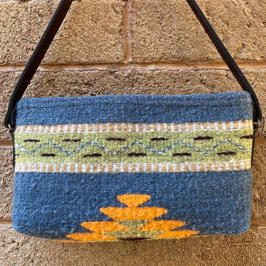 Hand-woven Wool Tote with Leather Strap - Blue with Orange Diamante Detail