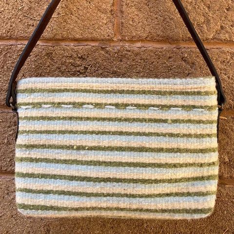 Hand-woven Wool Tote with Leather Strap - Thin Green Stripes