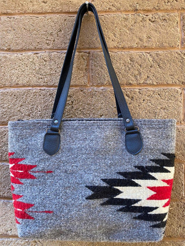 Hand-woven Wool Tote with Leather Strap - Grey with Black, White, and Red 'Relámpago'