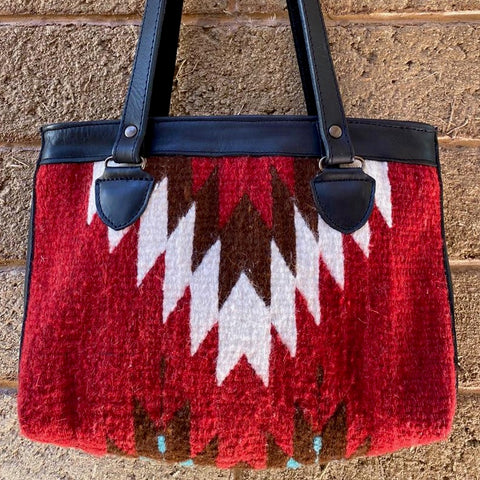Hand-woven Wool Tote with Leather Strap - Red 'Relámpago'