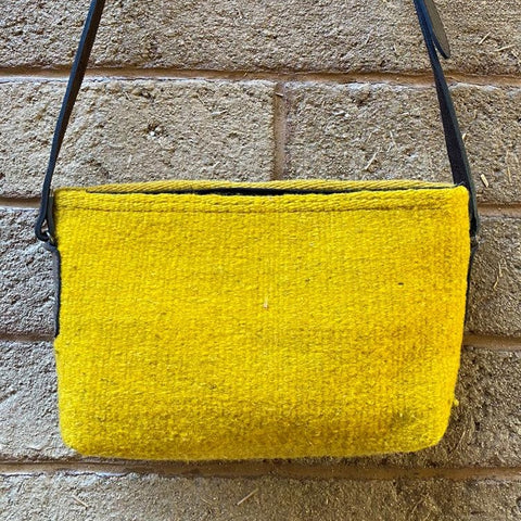 Hand-woven Cross-body Wool Bag with Leather Strap - Yellow Simplicity