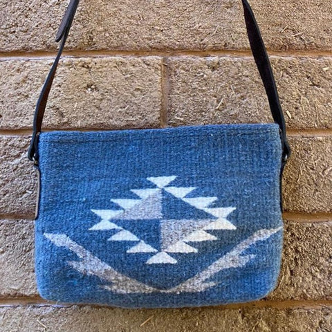 Hand-woven Cross-body Wool Bag with Leather Strap - Blue Diamante
