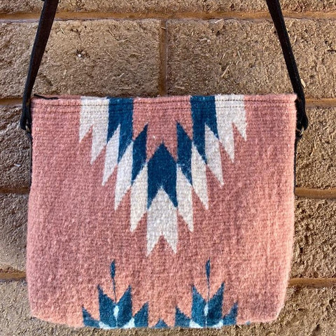 Hand-woven Cross-body Wool Bag with Leather Strap - Pink & Blue Lightning