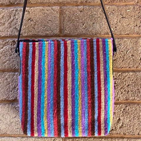 Hand-woven Cross-body Wool Bag with Leather Strap - Rainbow Stripes