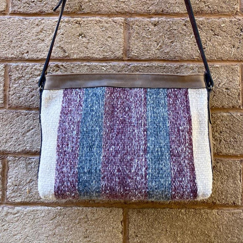 Hand-woven Cross-body Wool Bag with Leather Strap - Wide Blue & Purple Stripes