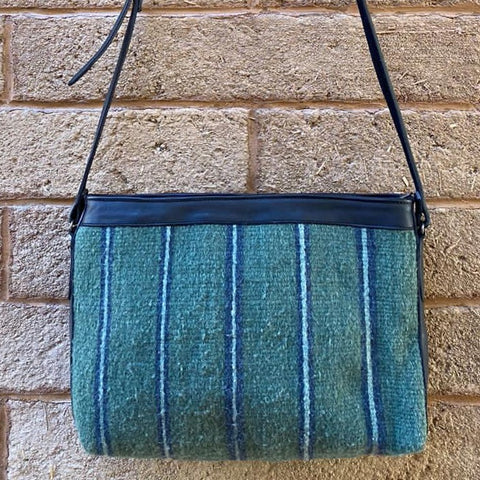 Hand-woven Cross-body Wool Bag with Leather Strap - Green with Thin Blue Stripes