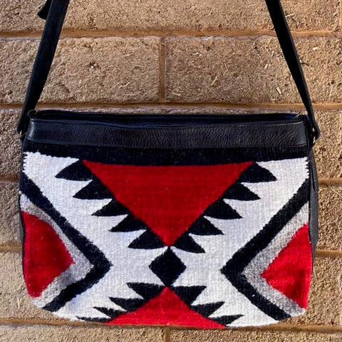 Hand-woven Cross-body Wool Bag with Leather Strap - Red Diamantes