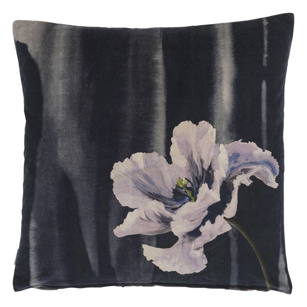 Delft Flower Noir Decorative Pillow