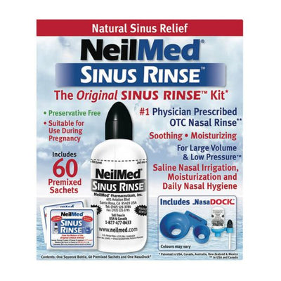 NeilMed Sinus Rinse Kit - 240ml Bottle and 60 Sachets