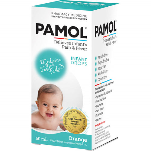Pamol Orange Infant Drops For Pain & Fever 60ml