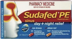 Sudafed PE Sinus Day + Night Relief Tablets 24