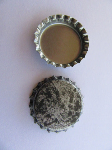 Antiqued Silver Print Bottle Cap