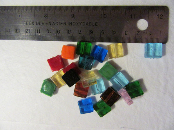 Glass square beads
