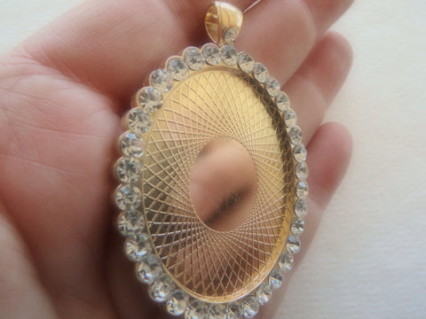 Blinged Blank Oval Gold