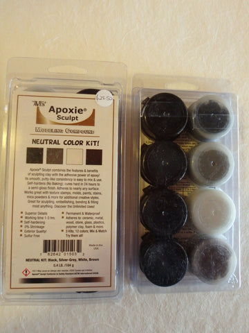 Apoxie Sculpt- Neutral: Black, Silver-Grey, White, Brown