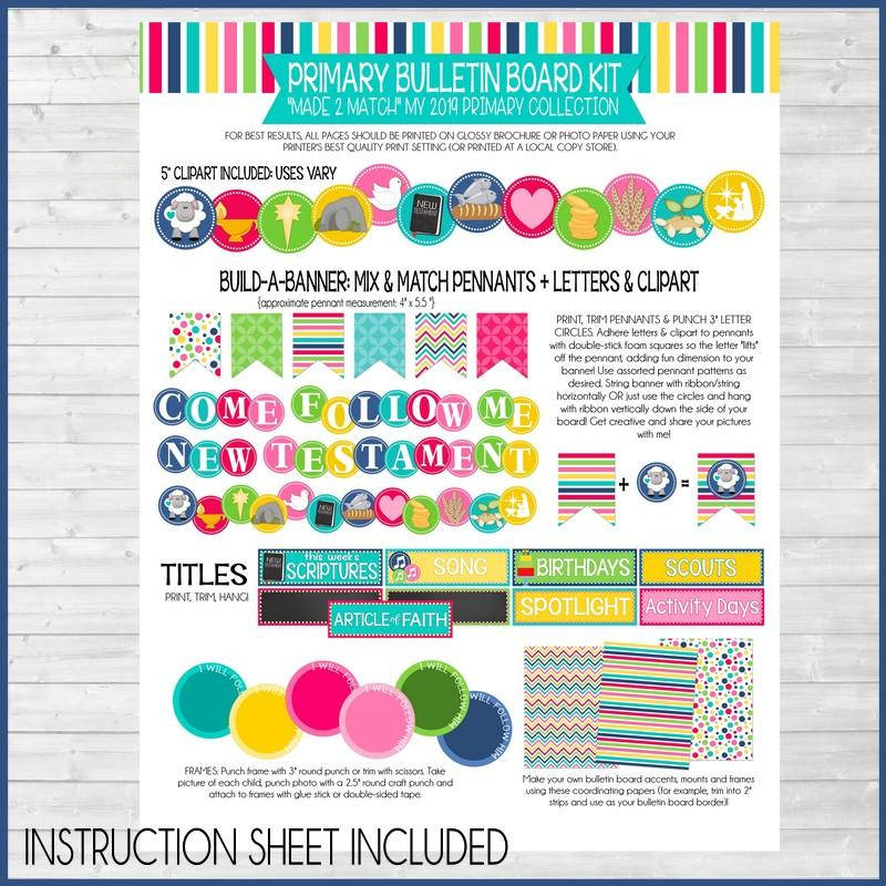 2019 Come Follow Me {PRIMARY} Bulletin Board Kit PRINTABLES