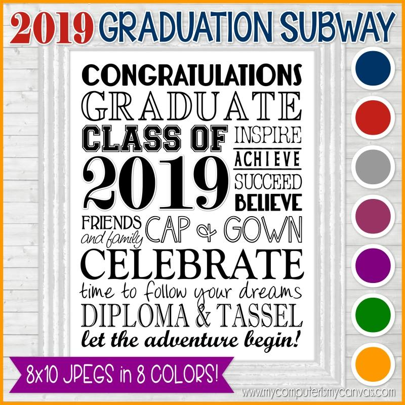 photograph regarding Subway Art Printable called 2019 Commencement Subway Artwork - PRINTABLE (8 Hues)