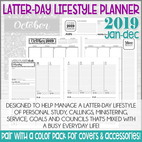2019 Latter-day Lifestyle Planner {Inside Pages Only} PRINTABLE-My Computer is My Canvas