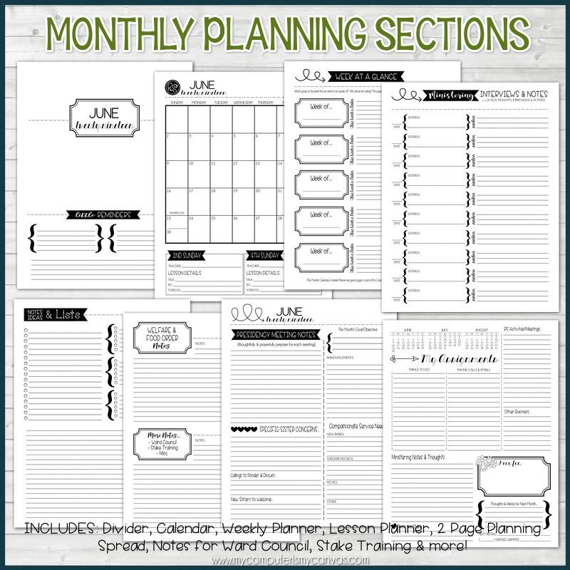 2019 Relief Society Planner PRINTABLE – My Computer is My Canvas