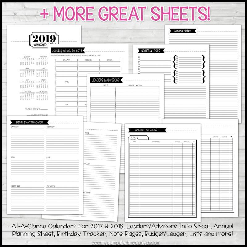 2019 YW Presidency Planner PRINTABLE – My Computer is My Canvas