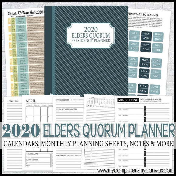 2020 Elders Quorum Presidency Planner {EQ} PRINTABLE