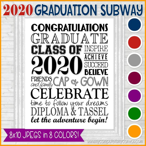 2020 Graduation Subway Art - PRINTABLE (8 Colors)