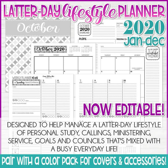 2020 Latter-day Lifestyle Planner {Inside Pages Only} EDITABLE Printable