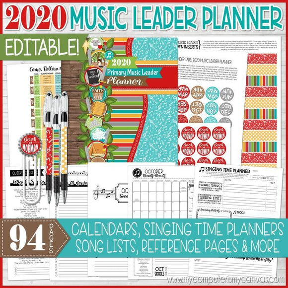 2020 Primary MUSIC LEADER Planner {EDITABLE} PRINTABLE