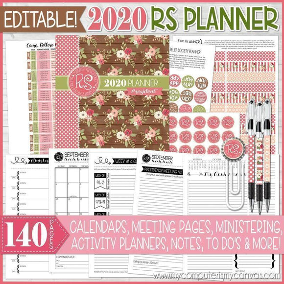 2020 Relief Society Planner PRINTABLE (EDITABLE)