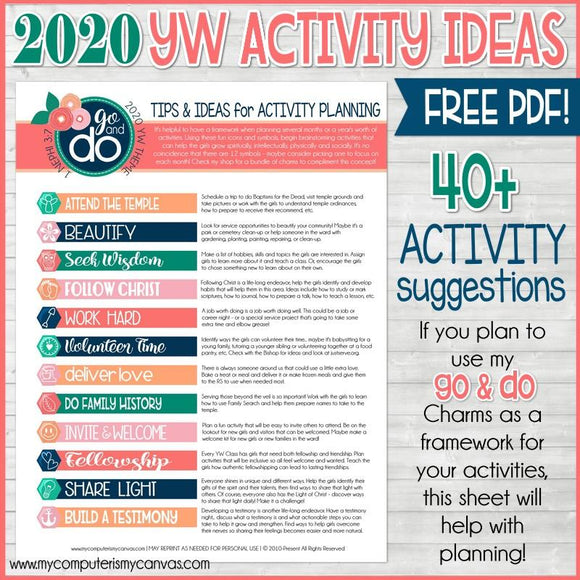 2020 YW Go & Do ACTIVITY IDEAS (FREEBIE ) Printable