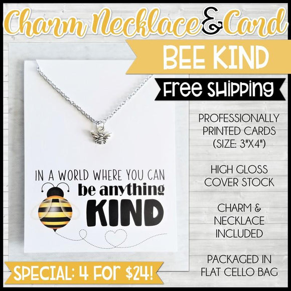 Charm Necklace Special {BEE KIND: 4 for $24} SHIPPED