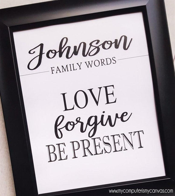 Family Words Wall Art {Personalized} PRINTABLE-My Computer is My Canvas