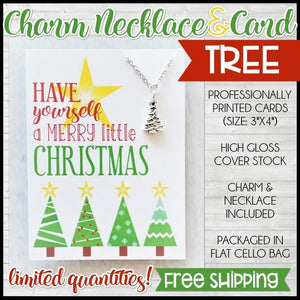 Jewelry Quote Card with Charm Necklace {CHRISTMAS TREE} SHIPPED
