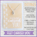 Jewelry Quote Card with Charm Necklace {FEET} SHIPPED