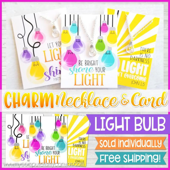 Jewelry Quote Card with Charm Necklace {LIGHT BULB} SHIPPED