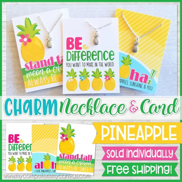 Jewelry Quote Card with Charm Necklace {PINEAPPLE} SHIPPED