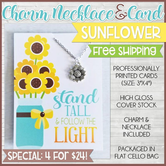 Jewelry Quote Card with Charm Necklace {SUNFLOWER: 4 for $24} SHIPPED