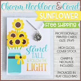 Jewelry Quote Card with Charm Necklace {SUNFLOWER} SHIPPED