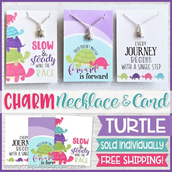 Jewelry Quote Card with Charm Necklace {TURTLE} SHIPPED