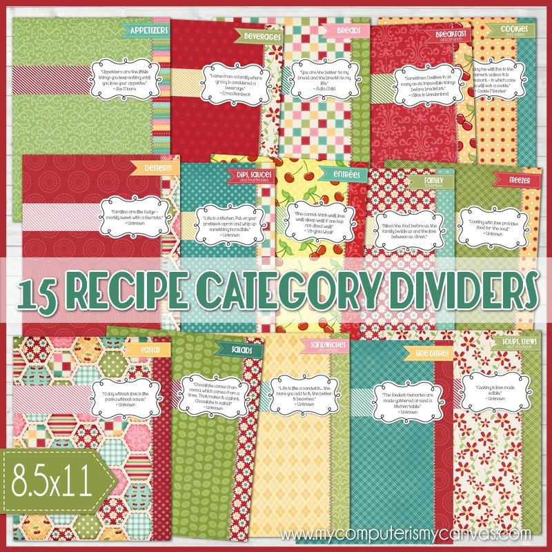 This is an image of Free Printable Recipe Binder Kit in coupon binder divider