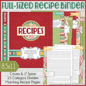 Recipe Binder Kit RED {Full Size 8.5x11} PRINTABLE-My Computer is My Canvas