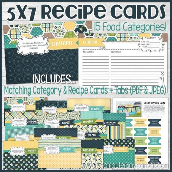Recipe Cards & Dividers NAVY {5x7} PRINTABLE-My Computer is My Canvas